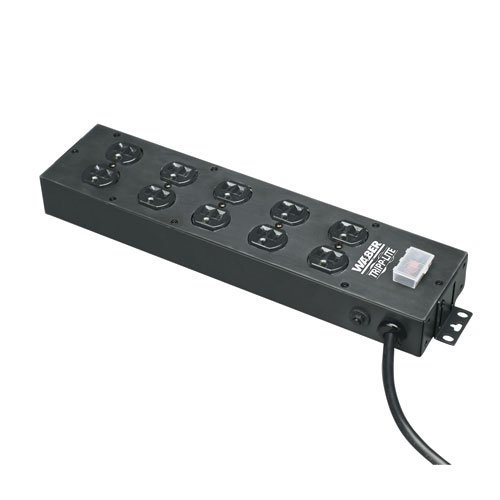 Tripp Lite 10 Outlet Home & Office Power Strip, 15ft Cord with 5-15P Plug, Black (UL800CB-15)