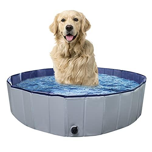 Hundepool für Kleine Hunde, Hundebadewanne Faltbar Planschbecken Dusche Spiel Swimmpool für Kinder Hunde Haustier, 80 x 20 cm