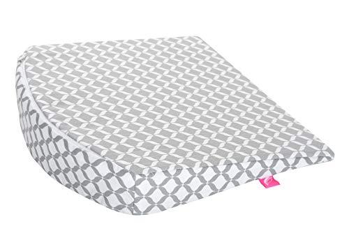 Cojín con cuña para bebé, ideal para cochecito de bebé, certificado Öko-Tex Standard 100, tamaño 30 x 30 cm, incluye funda extraíble de algodón 100%, gris clásico