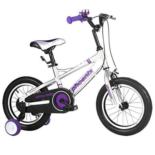 HGJINFANF Bicicletas para niños, Bicicletas para niños, Bicicleta para niños, Practicar Bicicleta para niña Scooter Adecuado (Color : Purple, Size : 14inches)