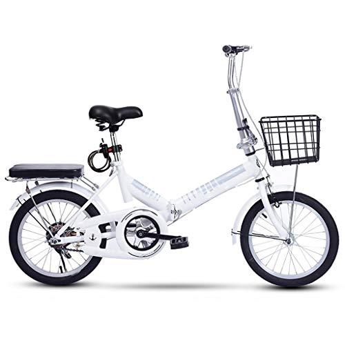 TXTC Los Hombres Adultos De La Bici Urbana Bicicleta Plegable De Las Bicicleta Mujer Portátil Ligero De 16 Pulgadas Crucero De La Playa De La Bici con Cómodo Asiento Esponja, Acero For IR Al Trabajo