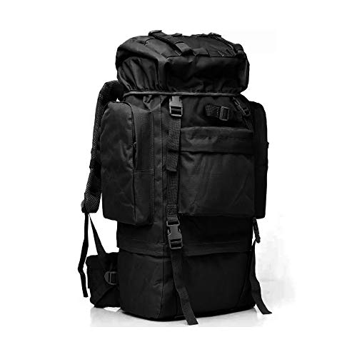 GEARDO 65L Tactical Rucksack Backpack with Internal Frame and Rain Cover for Camping Hiking Travel Outdoor (Black)
