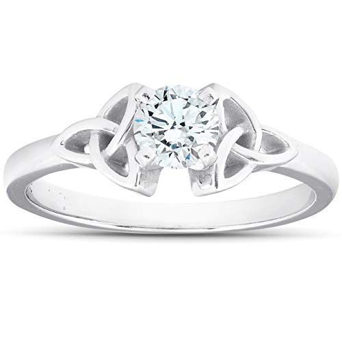 5/8 Ct Diamond Solitaire Celtic Engagement Ring 14k White Gold - Size 7