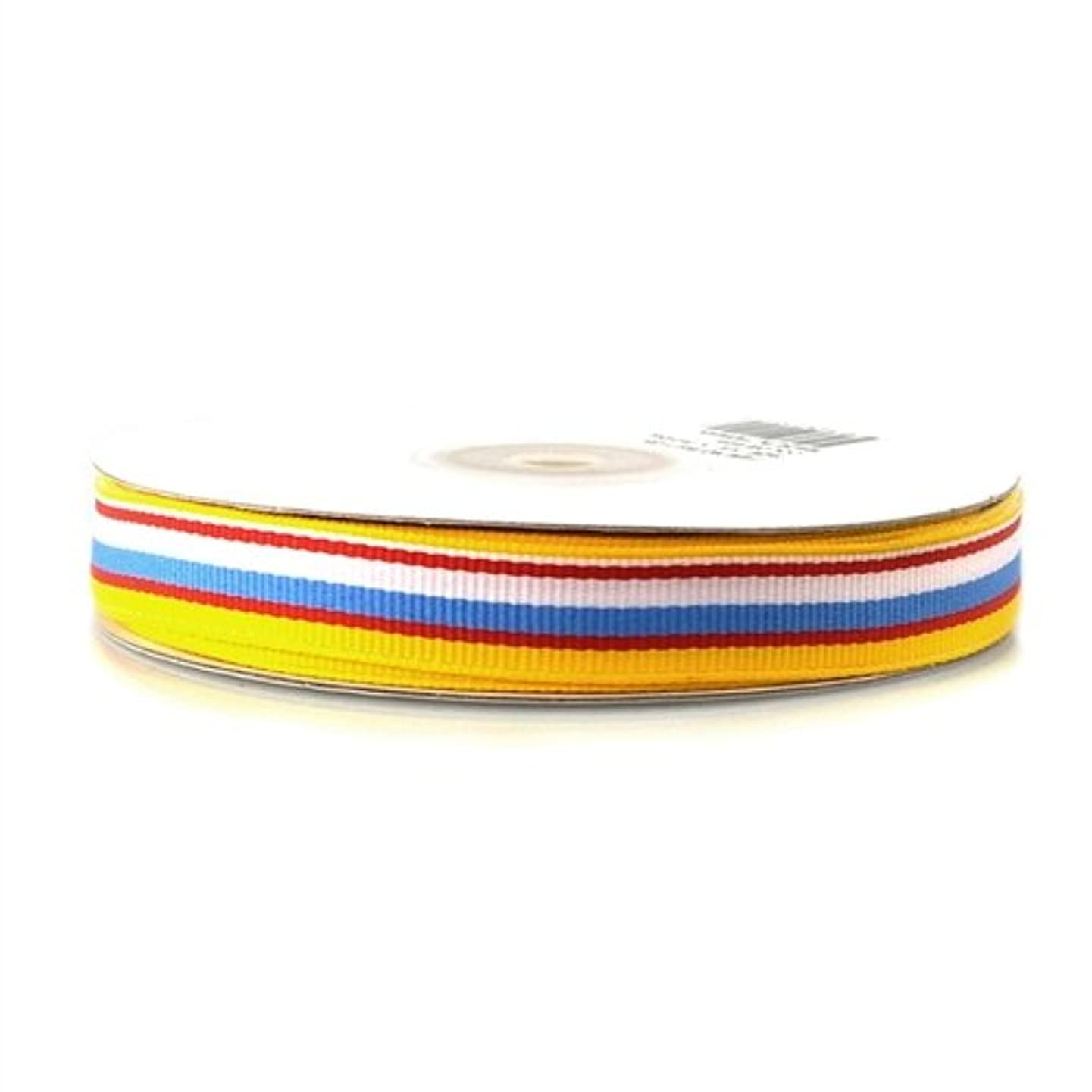 Homeford FHV000040105 25 yd Rainbow Striped Grosgrain Ribbon, 5/8