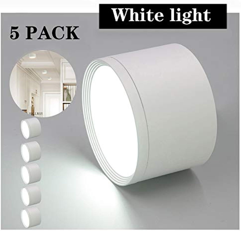 Aione Runde LED-Deckeneinbaustrahler 5W Weilicht Villa Panel blendfrei Restaurant Küche Dekor Leuchte (weie Schale),Weiß5W,5PACK
