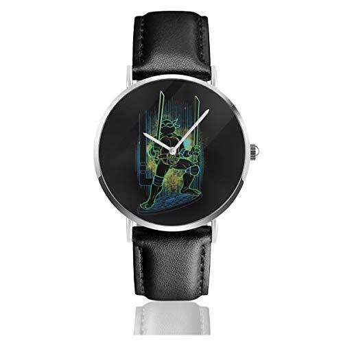 TMNT Herren und Damen Armbanduhr Shadow of Leonardo, Quarzuhrwerk, Lederarmband, Schwarz