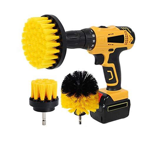 Kingbra Cepillo para taladro - 2 '3' 4 Power Drill Adjunto, rigidez media, cepillo para limpieza de duchas, bañeras, azulejos, lechada, alfombras, cocinas
