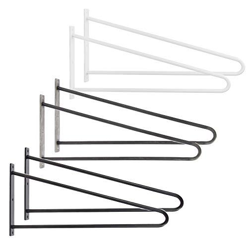 Natural Goods Berlin 2X Tischhalterung Hairpin | pulverbeschichtet oder geölt | 12mm Rundstahl | Wandtisch | Wandhalterung für Schreibtisch, Schminktisch Laptoptisch | 50cm Tiefe | DIY (Schwarz)