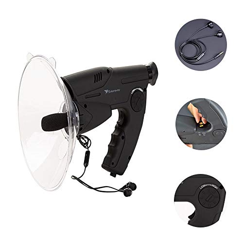 LCTS Bionic Ear Parabolic Microphone Bird Monoculars, with 8X Prism Optical System Outdoor Remote Sound Collection,300 Feet Listening Device (Including Headphones)