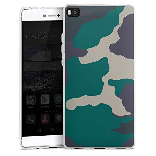 DeinDesign Silikon Hülle kompatibel mit Huawei P8 Case transparent Handyhülle Camouflage Bundeswehr Muster