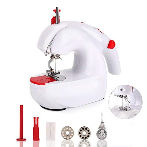 HALOVIE Mini Máquina de Coser Portátil Manual Eléctrica Herramienta de Puntada Rápida para Ropa de Tela Cortina de Tela para Niños DIY Uso de Viaje y Casa