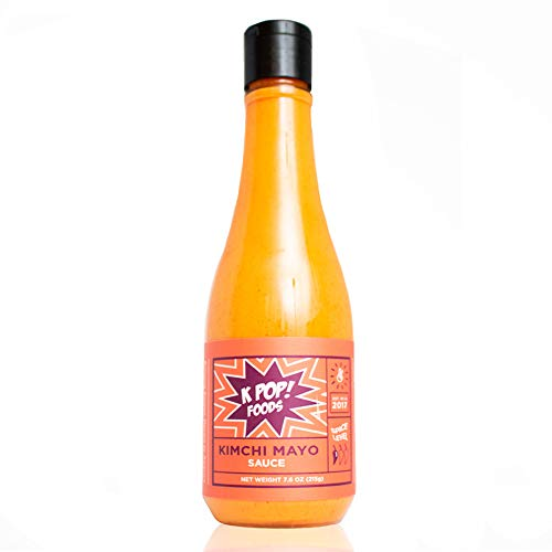 Kimchi Mayo Sauce by KPOP Foods. Bold and Zesty Spicy Mayo in Convenient Squeeze Bottle. Low Heat.