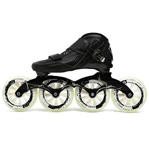 Outdoor-Profi Speed-Inline-Skates Für Männer Frauen, Erwachsene 4 * 90-110Mm Wheels Racing Skates Schwarz Inline Hockey Skates,Schwarz,39