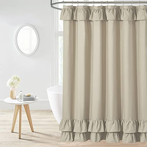 Khaki Rüschen-Duschvorhang, Landhausstil, Stoff, Duschvorhänge für Badezimmer, 183 x 183 cm, Standardgröße