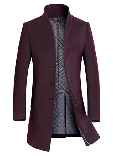 Lavnis Men's Trench Coat Long Wool Blend Overcoat Slim Fit Down Topcoat Thicken Style Red Wine S