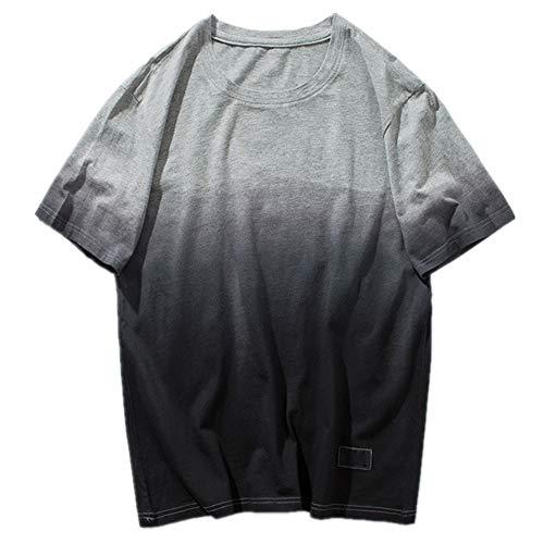 NOBRAND Camiseta de manga corta para hombre con tinte colgante y degradado color en verano
