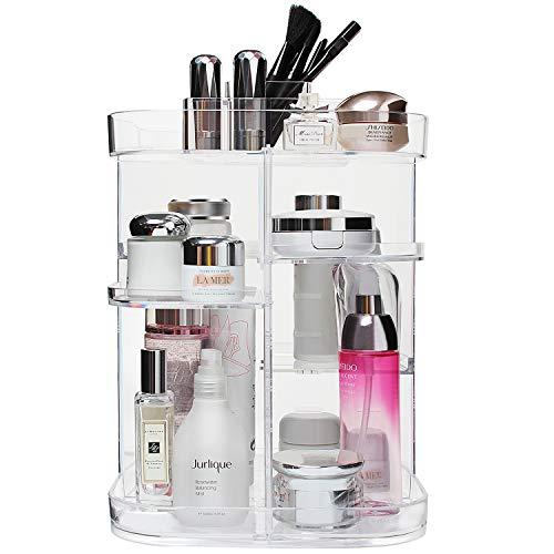 Boxalls Organiseur de maquillage de forme carrée rotatif à 360degrés, multifonction et transparent avec 5plateaux de grande capacité pour coiffeuse, comptoir de salle de bain ou chambre à coucher