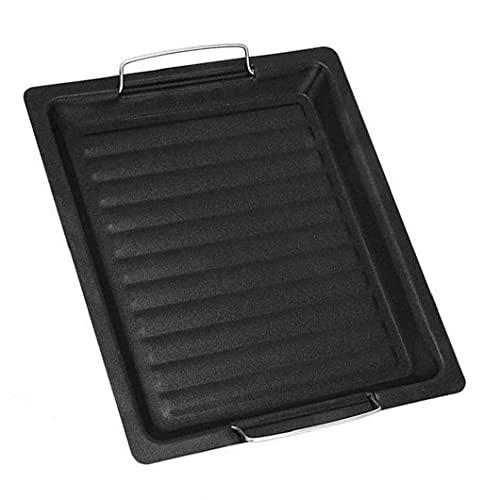 Långpanna Barbecue Plate med handtag Non Stick Roast Vegetabiliska Grill Pan Black BBQ fack för Picnic