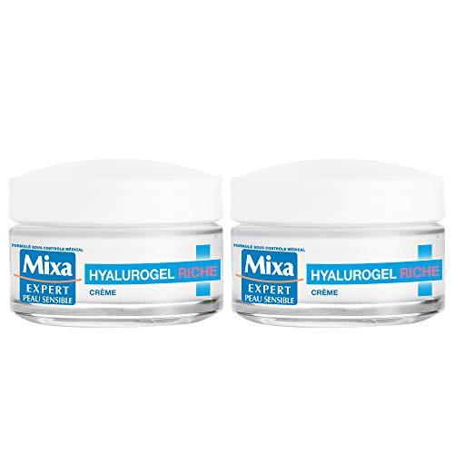 Mixa Expert Peau Sensible - Hyalurogel Riche - Crème Hydratante Intensive 24H - 50 ml - Lot de 2