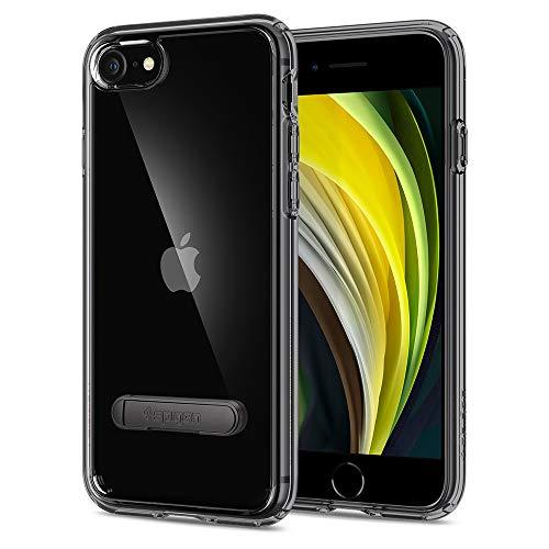 Spigen Coque pour iPhone Se 2020/8/7 [Ultra Hybrid S] Bumper Noir Renforcé, Dos Transparent Rigide, Kickstand, Protection Air Cushion, Compatible avec iPhone 7/8/SE - Noir de Jais