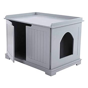Cocoarm Bac à Litière en MDF Boîte à litière pour Chat Maison de Toilette Chat Litière pour Chats Boîte à litière pour Animaux Maison pour Chat d'intérieur Maison de Chat Cat Litter Box(Gris)
