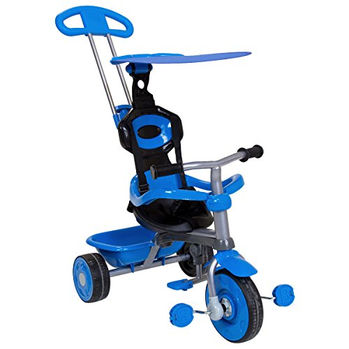 Charles Bentley Enfants Tricycle Étoiles en Bleu Garde avec Canopée et Sécurité 4 en 1 avec Poignée Mère Volant