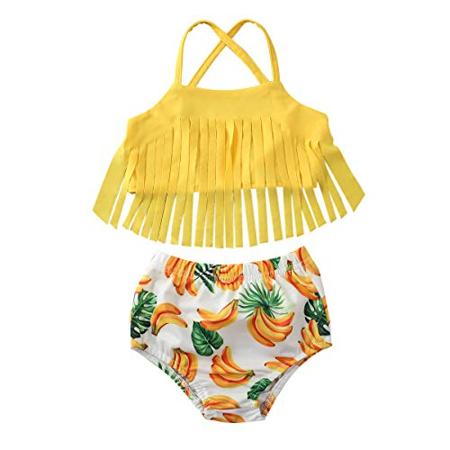 xkwyshop Toddler Baby Girl Swimsuit 2 Piece Tassels Fruit Bathing Suit Kids Girl Bikini Swimwear Beachwear 12M-5T (Yellow-Banana, 12-18 Months)