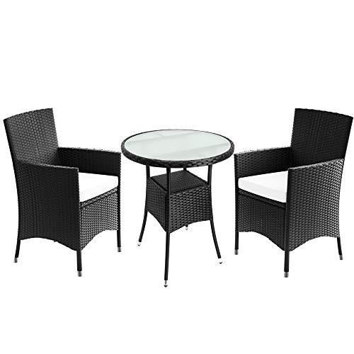 Deuba Poly Rattan Balkonset Sitzgruppe Schwarz 3 TLG 2 Stapelbare Stühle Balkontisch Milchglas Auflagen Balkonmöbel Set