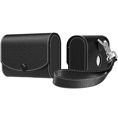 MoKo Case Fit AirPods Pro 2019, Magnetic Snap Closure PU Leather Fashion Style Full Protective Cover Carrying Pouch Pocket with Holding Strap for Airpods Pro Wireless Headset Charging Box - Black