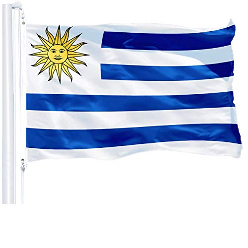 G128 - Uruguay Uruguayan Flag 3x5 ft Printed Brass Grommets 150D Quality Polyester Flag Indoor/Outdoor - Much Thicker More Durable Than 100D 75D Polyester