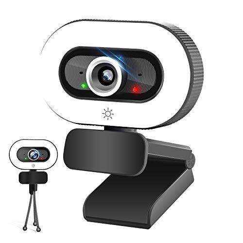 PPUSIN Cámara web QHD 2K con luz de anillo, micrófono integrado cámara de computadora, cámara web USB con trípode, brillo ajustable para zoom/juegos/enseñanza en línea/conferencia