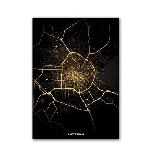 Amsterdam Países Bajos Mapa Rompecabezas Desafiante Juego Educativo Intelectual Descompresión Juguete,En Casa,Bloqueo,Regalo De Cumpleaños,Arte De La Pared,Bonito Conjunto De Regalos,1500 Piezas