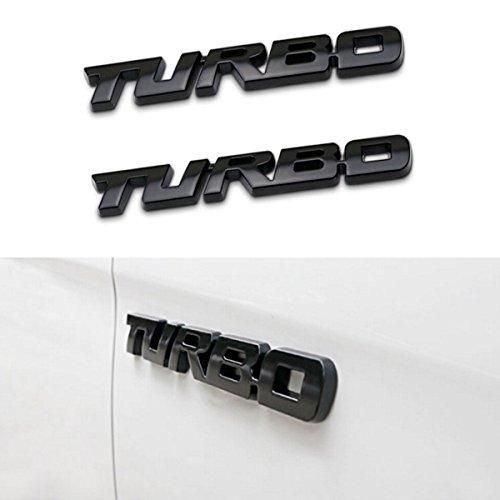 TK-KLZ 2Pcs 3D Metal TURBO Premium Car Side Fender Rear Trunk Emblem Badge Decals for JEEP BMW Dodge Mercedes Benz Tesla Toyota Honda Nissan Kia Chevrolet Ford (Black)