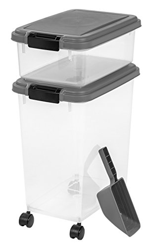 IRIS USA 3-Piece Airtight Pet Food Storage Container Combo, Dark Gray
