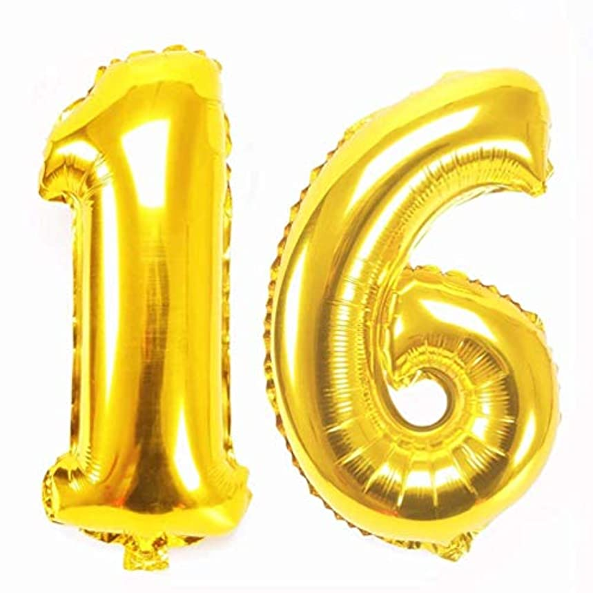 Big Sweet 16 Number Balloons Gold 40 inch Jumbo Sixteen Helium Number Balloons for Sweet 16 Birthday Party Decorations by AZOWA (Gold, 40 in)