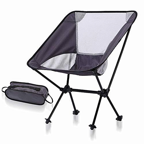 DJ stoelen, lichte draagbare klapstoel, voor outdoor, camping, strand, wandelen, vissen Donkergrijs + wit Net