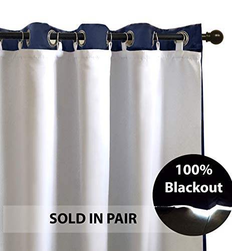 DriftAway Thermal Insulated 100 Percent Darkening Blackout Curtain Liner 2 Panels Each Liner Size 50 Inch by 58 Inch Rings Included Off White Panel