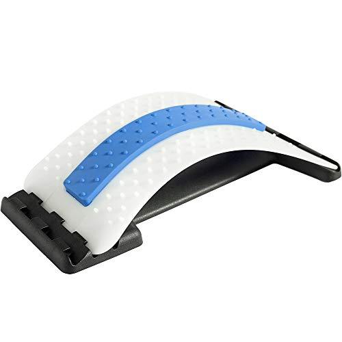 Rückenstrecker Rückendehner Back Stretcher, für Unter und Ober Lendenwirbelsäule Rückenschmerzen Linderung Wirbelsäulenstrecker Massagegerät Fitness Stretch (38.5x25.5x11cm, Blau + weiß)