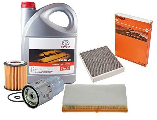 Kit Filters Herziening Motorolie Echte Toyota 5W-30 PFE synthetische 08880-83389 C2 5 Liter, (Filters FRAM merk)
