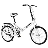 XINQITE 2021 New 20 Inch Folding City Bike Mini Lightweight Portable Commuter Bike, High Tensile Comfort Bicycle Rear Rack for Women and Men [US Spot]