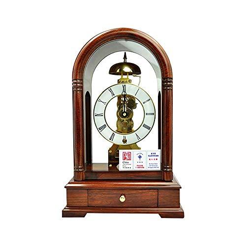 Ny uppgradering Öppen spissklocka med klockfunktion per timme och romerska siffror Mekanisk klocka Retro skrivbordsklocka Trä Skrivbordsklocka Clockwork Drive (Färg: Brun) ZZYYLLYZ