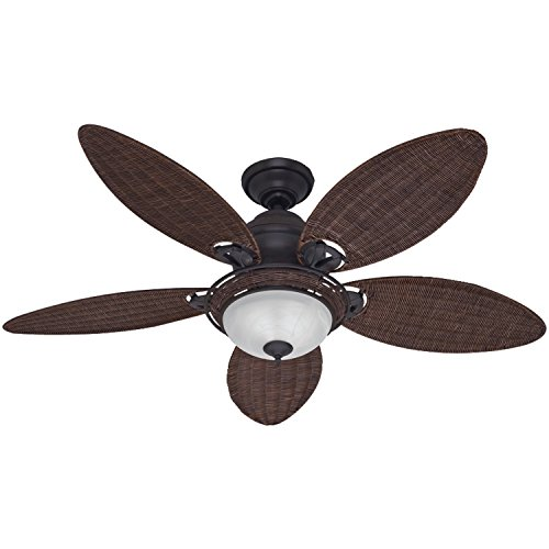 "Hunter Fan Company Hunter 54095 Tropical/British Colonial 54``Ceiling Fan from Caribbean Breezeâ""¢ collection Dark finish, Weathered Bronze"
