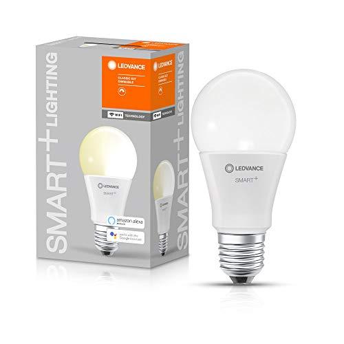 LEDVANCE Lampe LED intelligente avec technologie WiFi, douille E27, dimmable, blanc chaud (2700 K), remplace les lampes à incandescence par 75W, SMART+ WiFi Classic Dimmable, paquet de 1