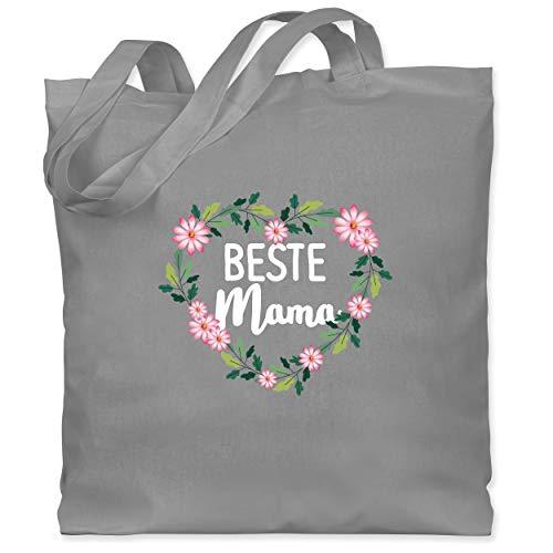 Shirtracer Muttertagsgeschenk - Beste Mama Blumenherz - weiß - Unisize - Hellgrau - Statement - WM101 - Stoffbeutel aus Baumwolle Jutebeutel lange Henkel