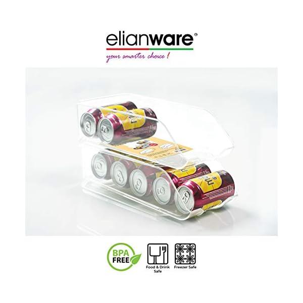 Elianware – 1 organizador de nevera con asas y bandeja de almacenamiento