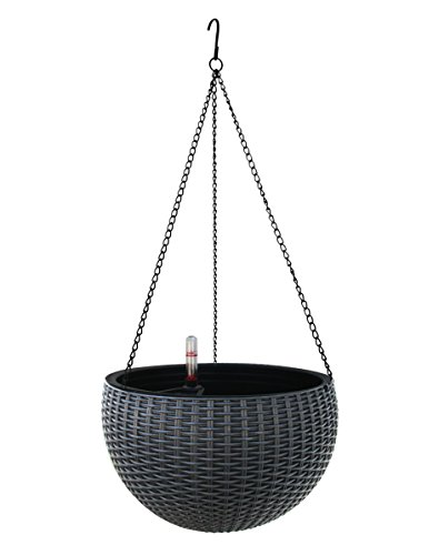 TABOR TOOLS Self-Watering Hanging Planter for Indoor-Outdoor. Wicker-Design, 10 Inch Diameter Plastic Weave Basket with Water Level Indicator Gauge. TB707A. (Grey)