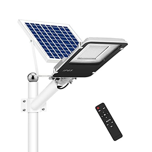 Farola Solar para Exteriores, Luz de Inundación de Blanca Fría de 1000 Lúmenes con Control Remoto, Recargable en Días Lluviosos y Nublados, Luz de Seguridad Impermeable IP65
