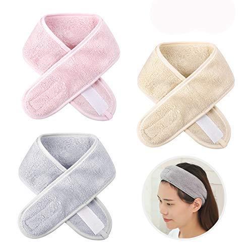 3 fasce per capelli per make up, in velluto corallo, per spa, fascia regolabile, asciugamano elastico per la testa del viso, antiscivolo, per doccia, lavaggio viso, yoga, sport