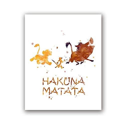 ASADVE Hakuna Matata Acuarela Imprimir Mural Arte Pumbaa Timon Simba Lienzo Cartel Rey León Arte Pintura Niños Regalo Decoración del hogar -30x40_cm_No_Frame_PH6855