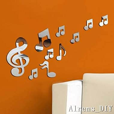 Alrens_DIY(TM)10pcs Romantic Music Note Crystal Reflective DIY Mirror Effect 3D Wall Stickers Home Decoration Acrylic Mural Wall Sticker Decor